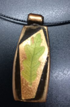 polymer clay pendant oak leaf