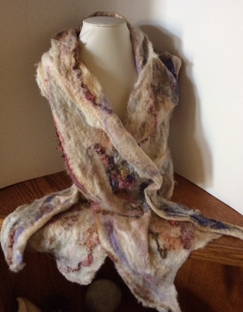 nuno felt scarf wool and silk with mohair