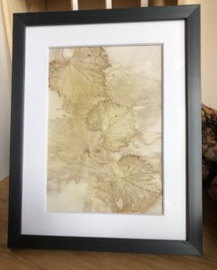 grape leaf eco print on paper