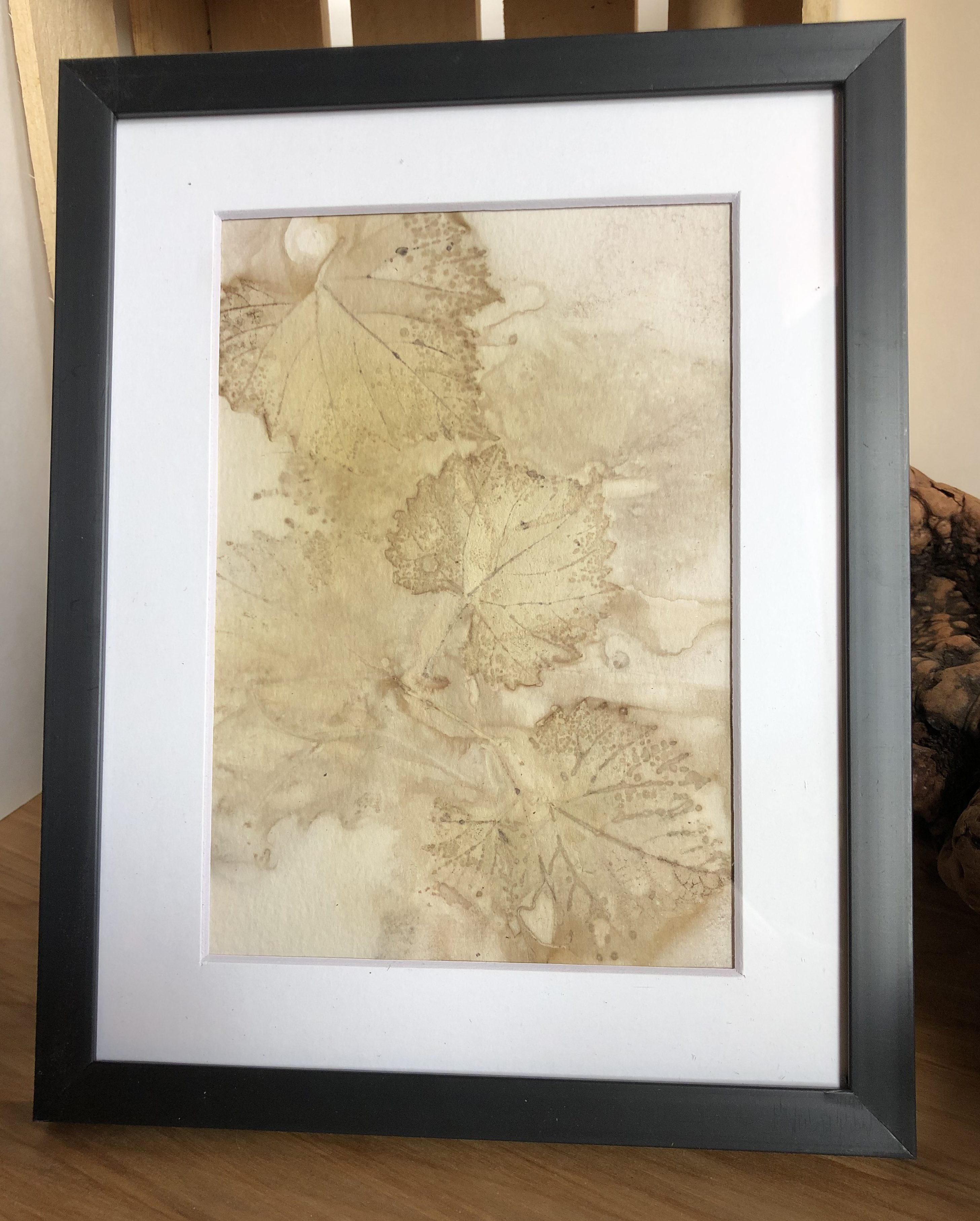 grape leaf eco print on paper