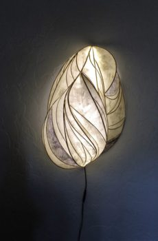 paper, reed and fiber sculpture with LED lighting