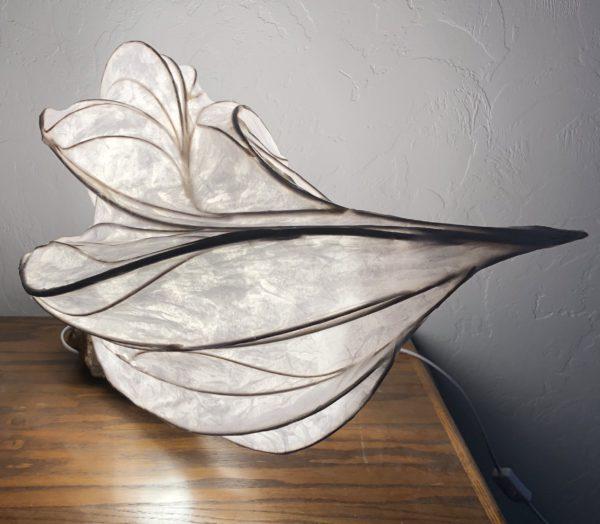 paper light sculpture with quartz crystals