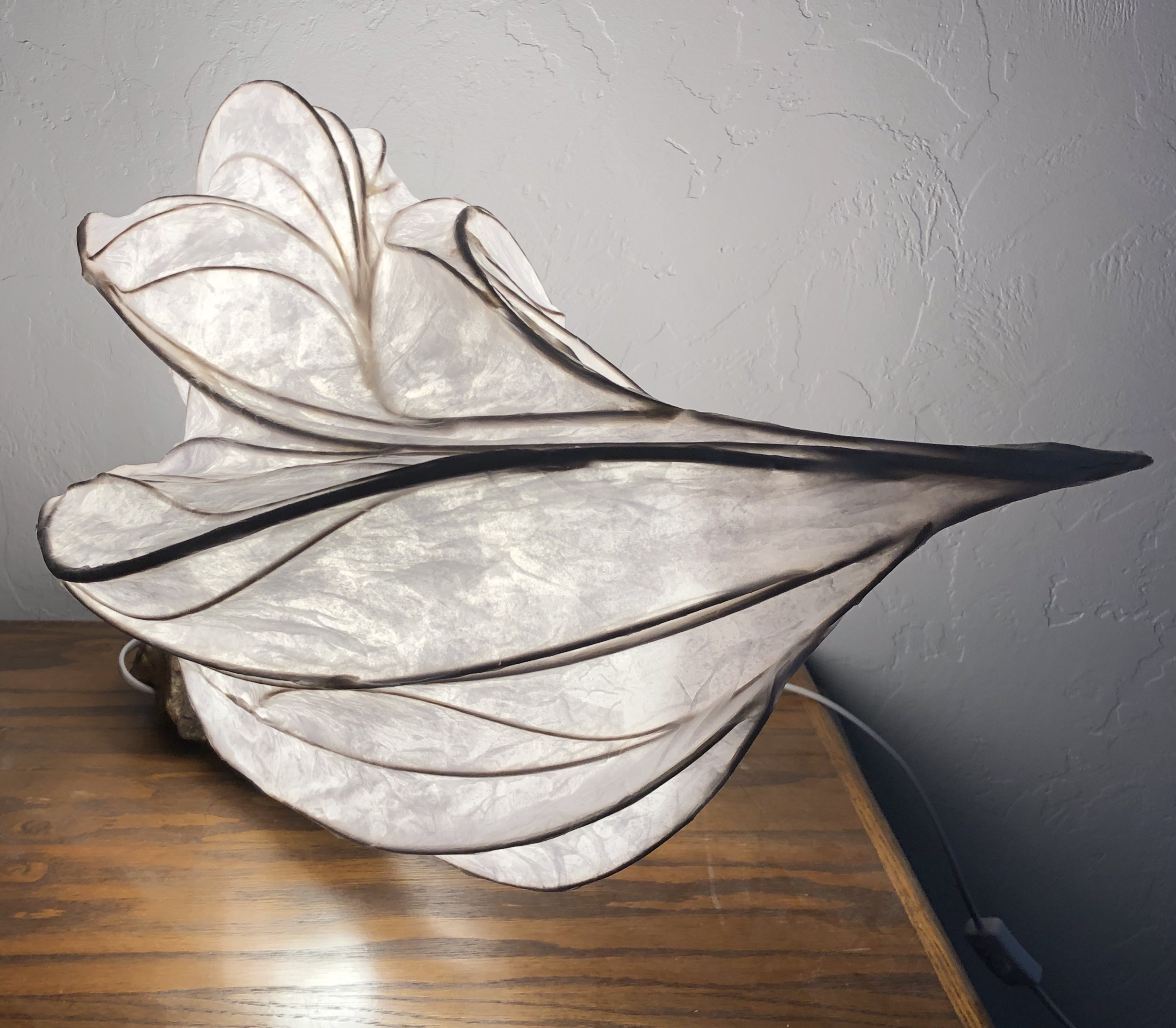 paper light sculpture with quartz crystals
