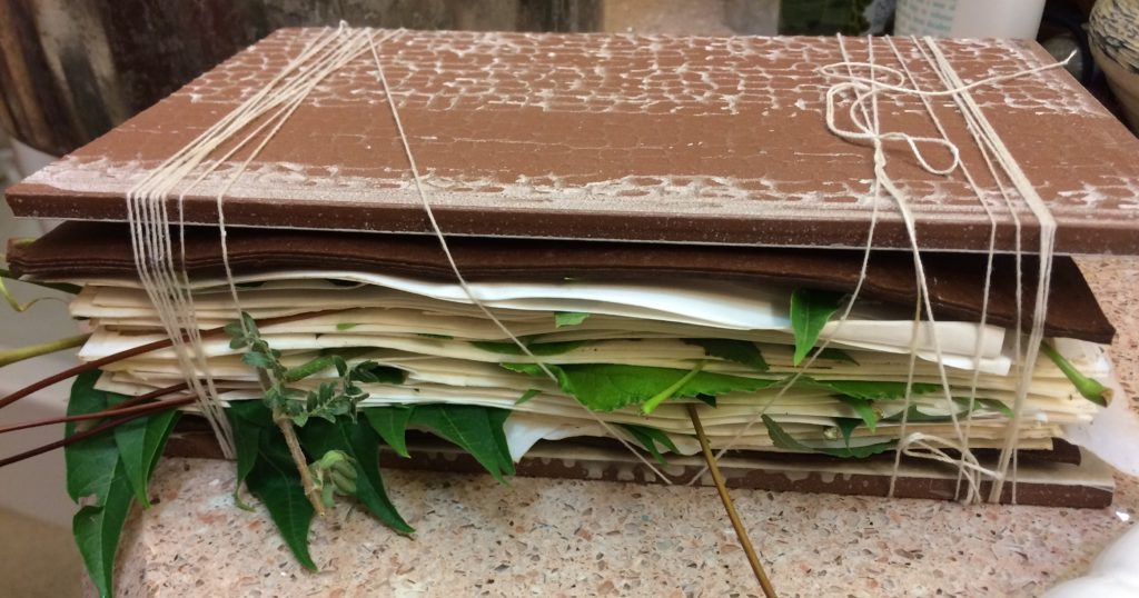 paper in a bundle ready to eco print