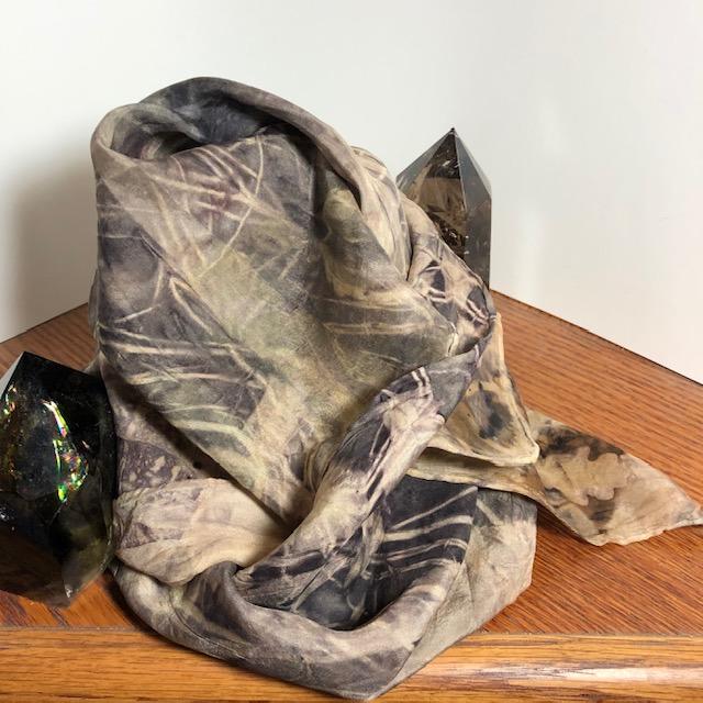 silk iron shibori scarf