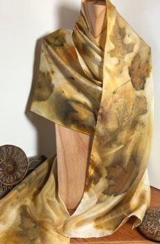 Eco printed silk scarf in autumn colors