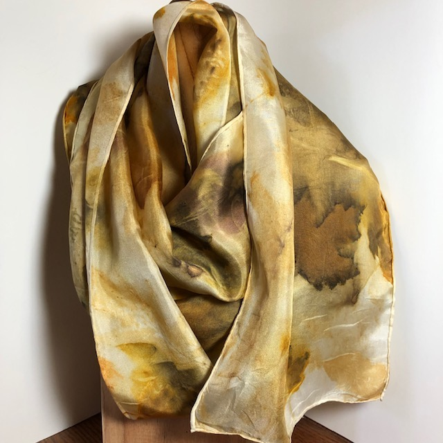 nature print silk scarf in autumn colors