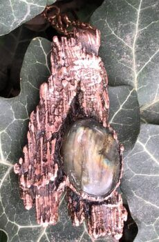 electroformed copper plated bark with labradorite pendant