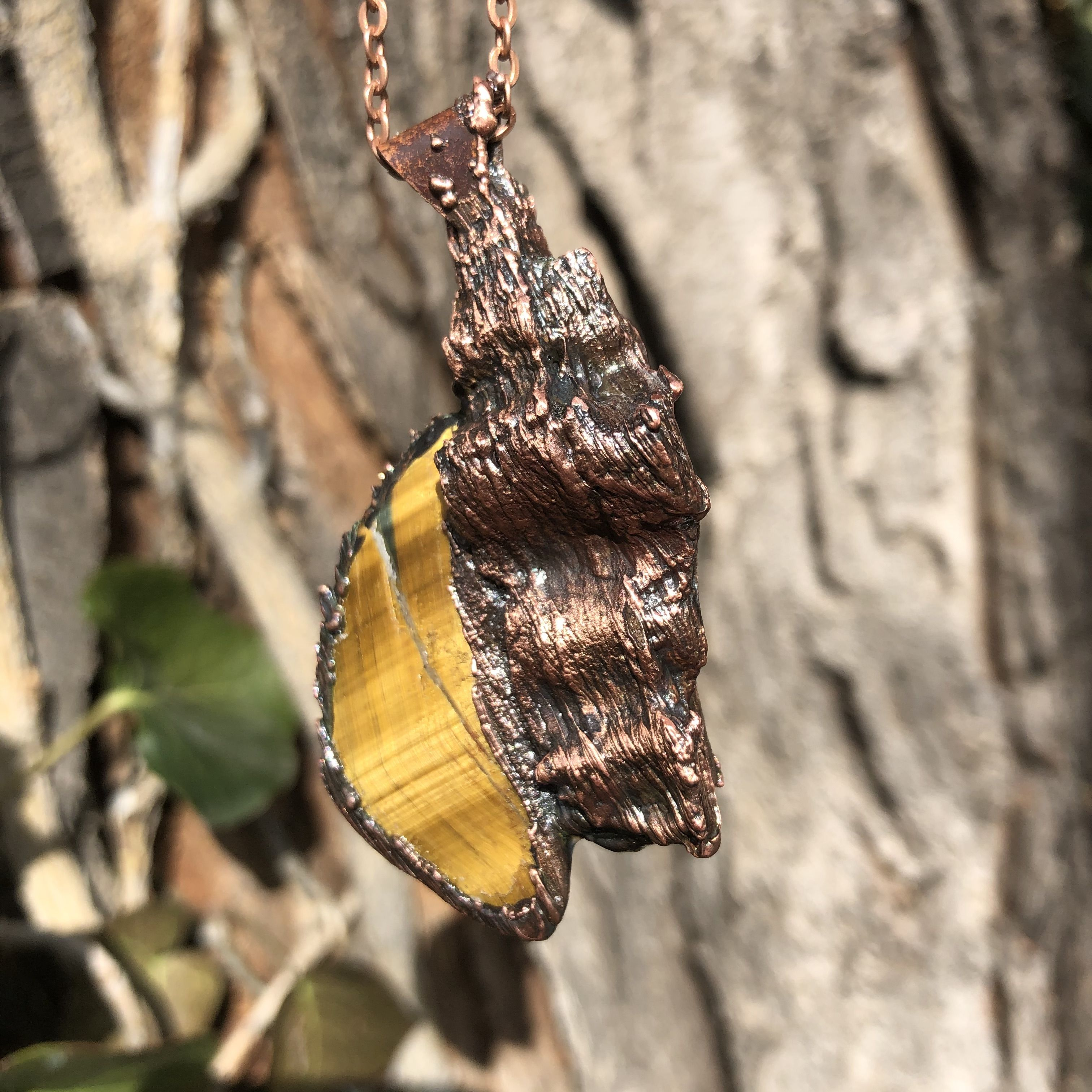 electroformed copper plated wood with tiger eye pendant