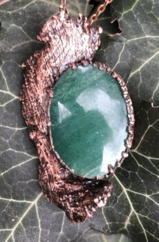copper and green aventurine pendant electroformed